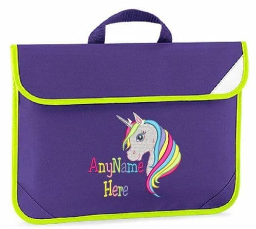 Personalised Embroidered Kids book bag - Rainbow Unicorn design with any Name.